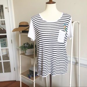 J. Crew linen embroidered bird tee shirt small